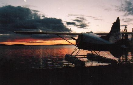 Float Plane At Sunset